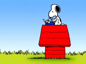 snoopy at typewriter